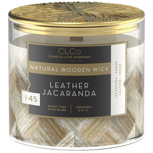 Candle-lite CLCo Candle Natural Wooden Wick 14 oz luxury scented candle ~ 90 h - No. 45 Leather Jacaranda