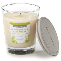 Candle-lite Essential Elements Glass Natural Scented Candle 9 oz 255 g - Lemongrass & Coriander