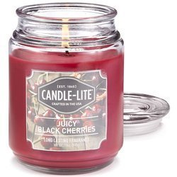Candle-lite Everyday Collection Large Scented Jar Glass Candle 18 oz 145/100 mm 510 g ~ 110 h – Juicy Black Cherries