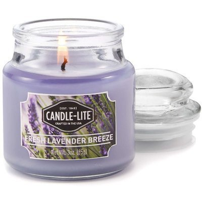 Candle-lite Everyday Collection Scented Small Jar Glass Candle With Lid 3 oz 95/60 mm - Fresh Lavender Breeze