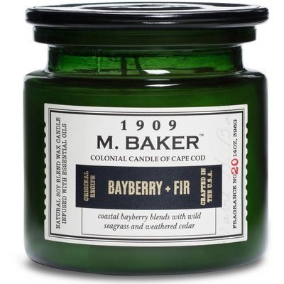 Colonial Candle M. Baker large soy scented candle apothecary jar 14 oz 396 g - Bayberry & Fir