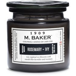 Colonial Candle M. Baker large soy scented candle apothecary jar 14 oz 396 g - Rosemary & Ivy