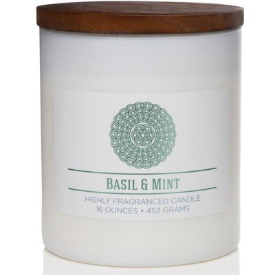 Colonial Candle Wellness large scented jar candle soy blend 16 oz 453 g - Basil & Mint