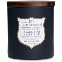 Colonial Candle wooden wick soy scented candle navy 15 oz 425 g - Black Pine & Oak Moss