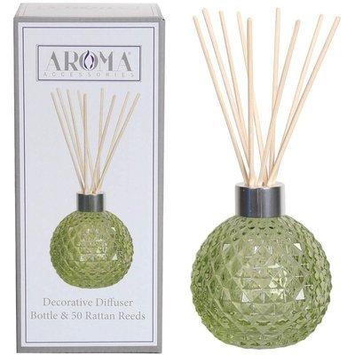 Woodbridge empty glass reed diffuser with 50 rattan reeds set - Green