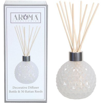 Woodbridge empty glass reed diffuser with 50 rattan reeds set - White