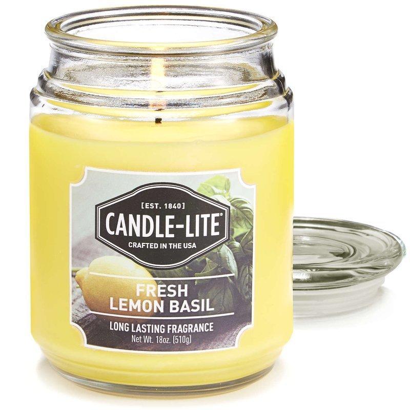 Candle Lite Everyday Collection Large Terrace Jar Glass Scented Candle 18 Oz 145 100 Mm 510 G 110 H Fresh Lemon Basil Fresh Lemon Basil Cwstore B2b Wholesale Candle Distributor