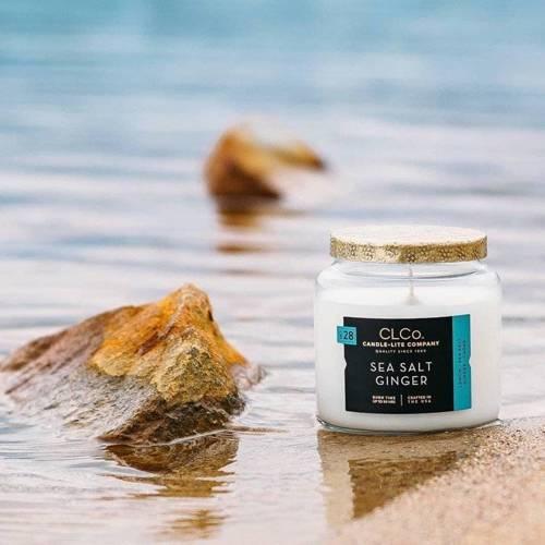 Candle-lite CLCo Candle Jar 14 oz luksusowa świeca zapachowa w szklanym słoju ~ 90 h - No. 28 Sea Salt Ginger