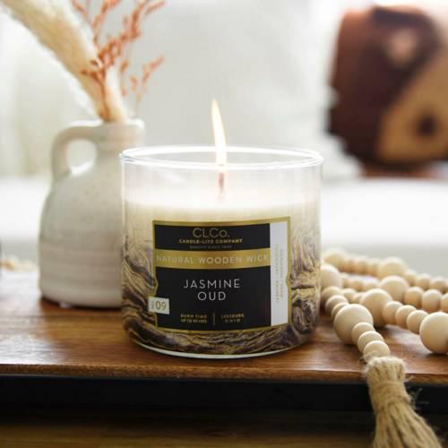 Candle-lite CLCo Candle Wooden Wick 14 oz luksusowa świeca zapachowa z drewnianym knotem ~ 90 h - No. 36 Jasmine Oud