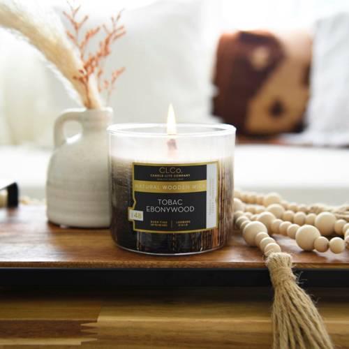 Candle-lite CLCo Candle Wooden Wick 14 oz luksusowa świeca zapachowa z drewnianym knotem ~ 90 h - No. 48 Tobac Ebonywood