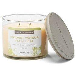 Candle-lite Essential Elements świeca zapachowa sojowa w szkle z olejkami eterycznymi 3 knoty 418 g - Coconut Water & Palm Leaf