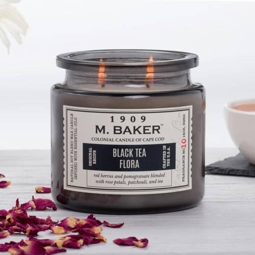 Colonial Candle M. Baker duża sojowa świeca zapachowa w słoju 14 oz 396 g - Black Tea Flora