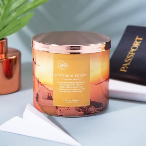 Colonial Candle Travel sojowa świeca zapachowa w szkle 3 knoty 14.5 oz 411 g - Santorini Sunset