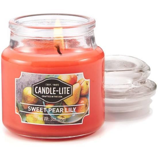 Candle-lite Everyday mała świeca zapachowa w szkle z pokrywką 95/60 mm 85 g - Sweet Pear Lily