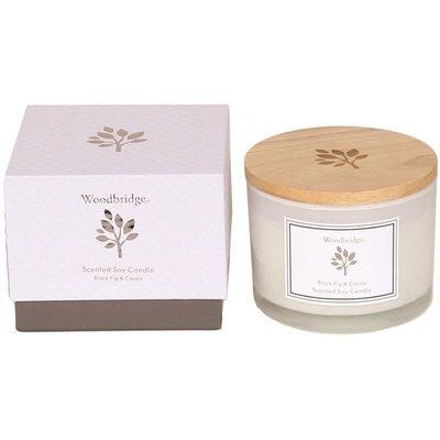 Ароматическая соевая свеча Woodbridge в стекле, 3 фитиля, коробка 370 г - Black Fig & Cassis