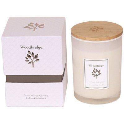 Свеча Woodbridge с ароматом сои в стеклянной коробке 270 г - Lychee & Redcurrant