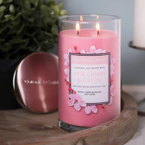 Colonial Candle большая, ароматная соевая свеча в стакане для стакана 18 унций 510 г - Pink Cherry Blossom
