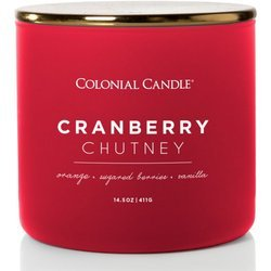 Colonial Candle Pop Of Color sojowa świeca zapachowa w szkle 3 knoty 14.5 oz 411 g - Cranberry Chutney